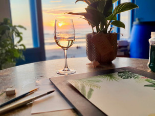 Watercolour & Wine Workshop Texel - 1.jp