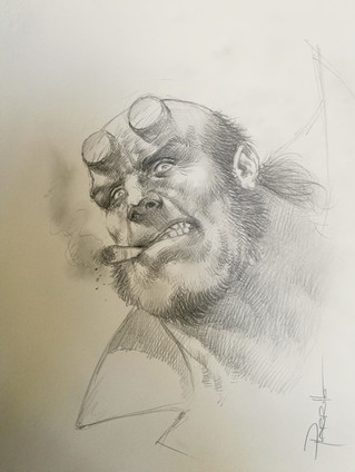 Hellboy Head Sketch