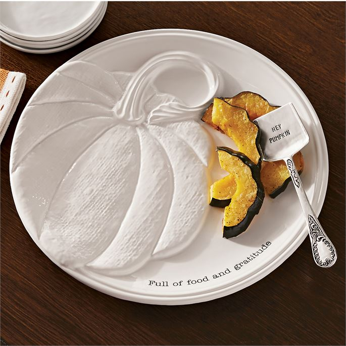 White Pumpkin Platter Set