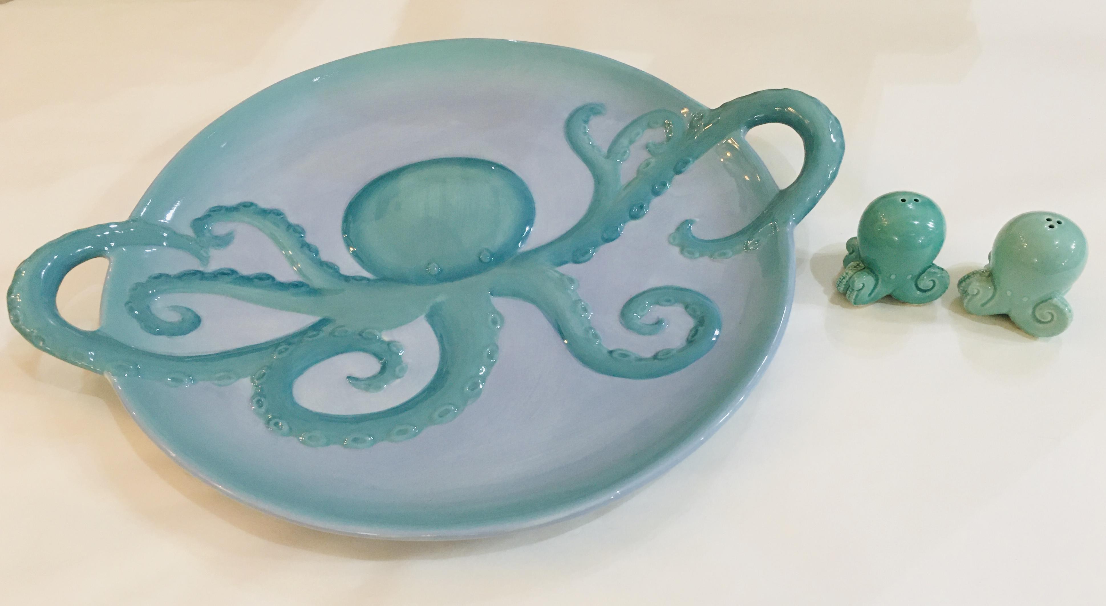 Octopus Stoneware Platter
