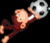 토토몽키의 메인 캐릭터가 축구공을 막는 모습.(스포츠토토를 의미)