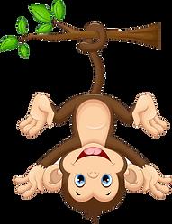 토토몽키의 메인캐릭터가 나무에 매달려 있는 이미지