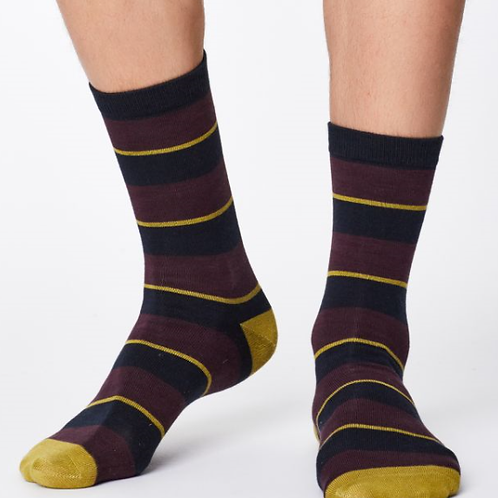 Mens, Elfield Striped Design Bamboo Socks - by Thought Clothing