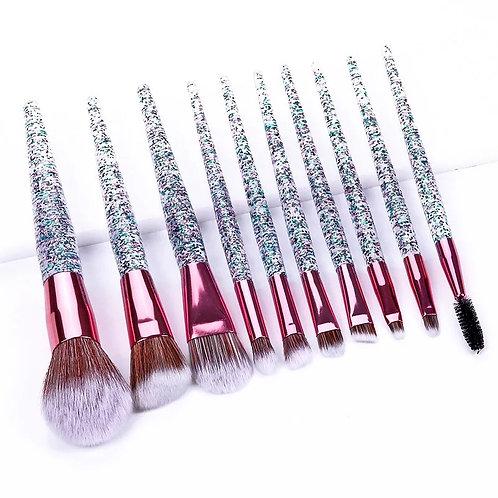 Makeup brush set (Clear&Pink)