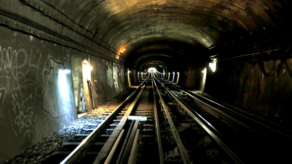 Tunnel near the Laumiere metro st