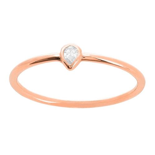 PEAR SHAPED BEZEL SET DIAMOND RING