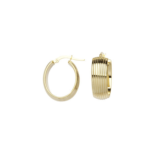RIDGED OVAL HOOP EARRINGS