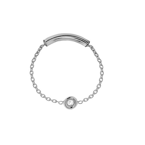 BEZEL SET DIAMOND CHAIN RING