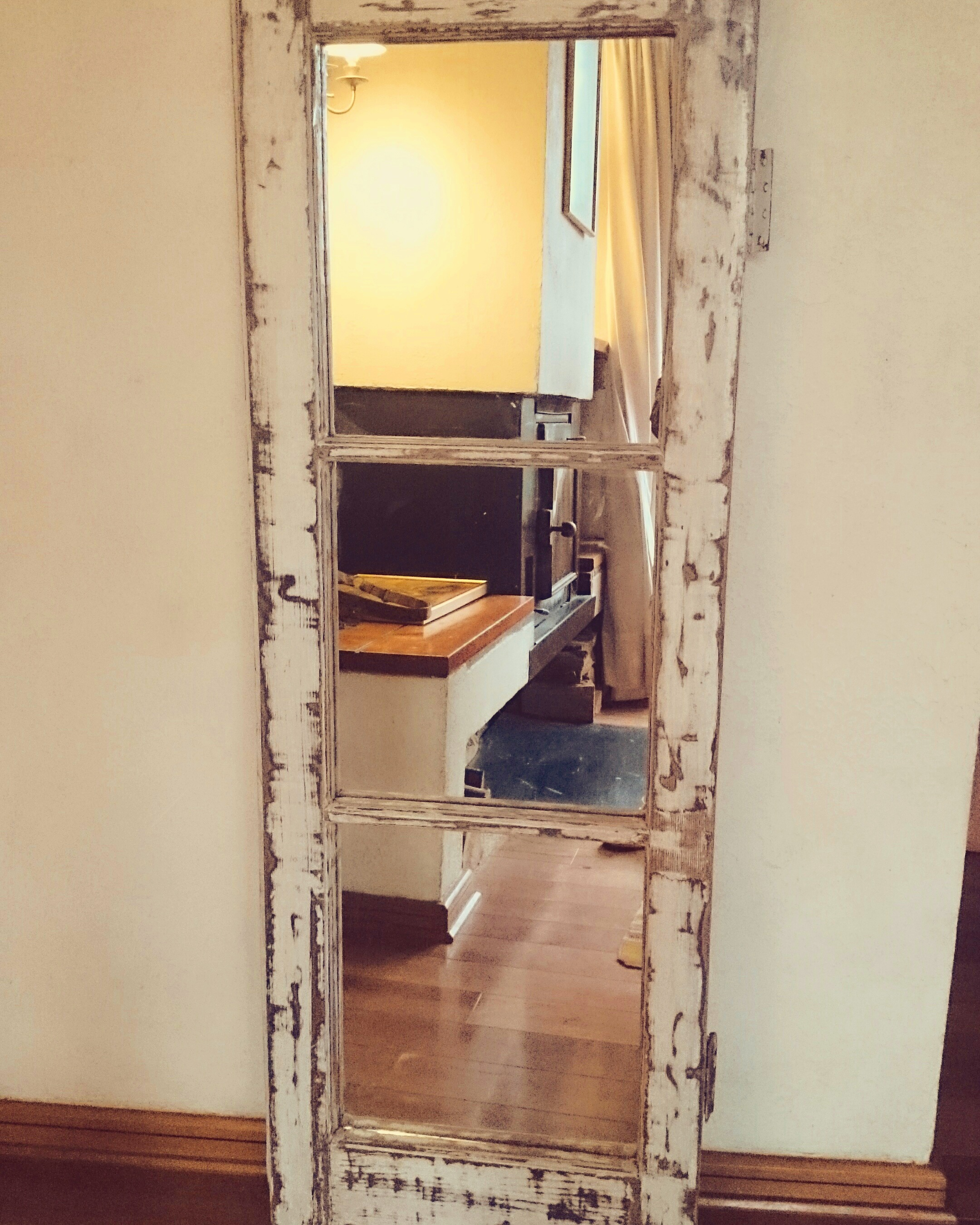 Espejo blanco / madera