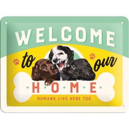 "Nostalgic Art Pfotenschild Design Blechschild ""Welcome to our Home"""