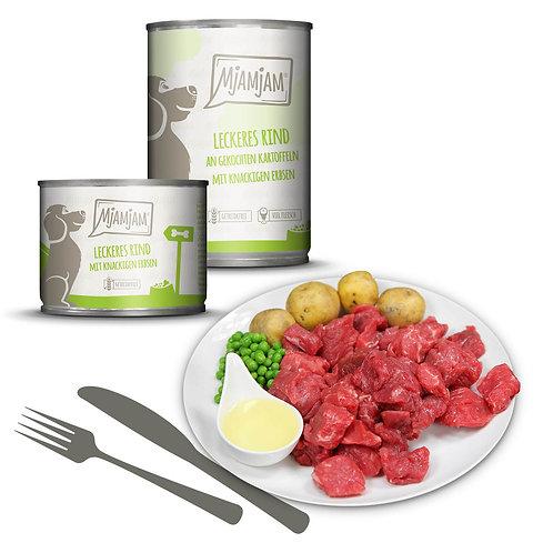 MjAMjAM Hundefutter Rind mit Kartoffeln und Erbsen 400g