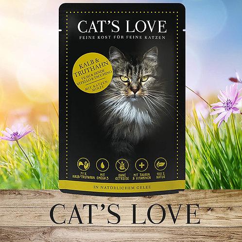 CAT´S LOVE Adult Mix Kalb und Truthahn mit Katzenminze 85g