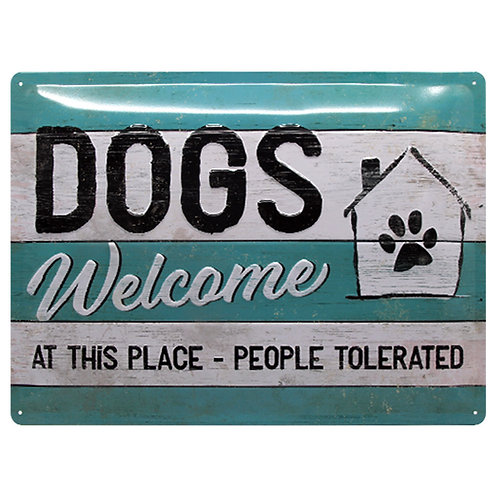 "Nostalgic Art Pfotenschild Design Blechschild ""Dogs Welcome"""