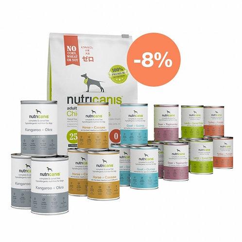 Nutricanis Aktionspaket Adult: 3 kg Trockenfutter & 400g Dosen Nassfutter
