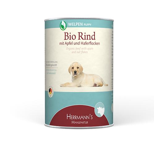 Herrmann´s Hundefutter Welpe Bio Rind mit Apfle & Haferflocken 400g