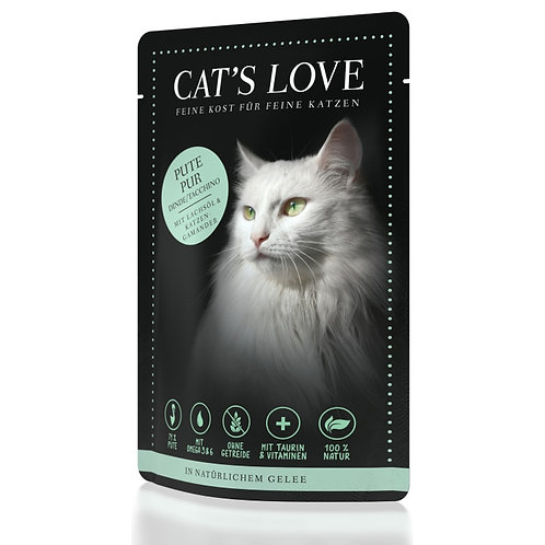 CAT´S LOVE Adult Pute Pur mit Lachsöl und Katzengamander 85g
