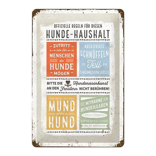 "Nostalgic Art Pfotenschild Design Blechschild ""Hundehaushalt"""
