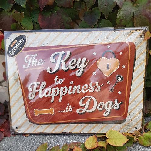 "Nostalgic Art Pfotenschild Design Blechschild ""The Key to Happiness is Dog"""