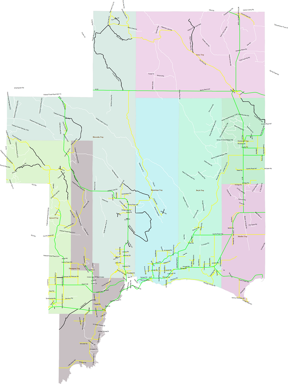 Green=All-Season; Yellow=Weight Restricted 30% Reduction; Black=Seasonal Road Not Maintained Nov. 1- April 30