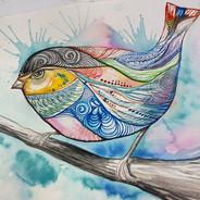 #gouache #painting #bird #patterns #aust