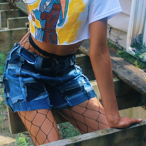 Denim Scrap Shorts