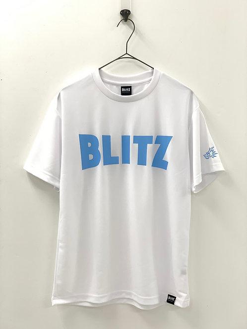 BLITZ ドライ半袖Tシャツ ホワイト×サックス
