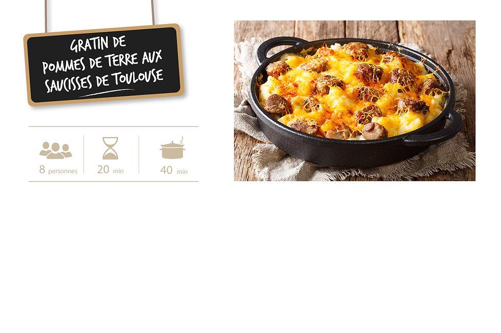 Fiche recette site gratin PDT saucisses.