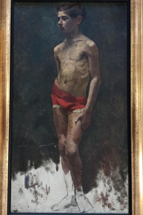 Grande académie 19 eme  - Huile sur toile signée Fourcade - 80 x 50