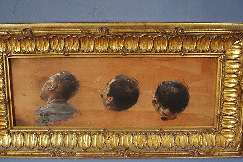 Portrait à l'huile sur panneau Henry Georges Chartier ( 1859 - 1924 )