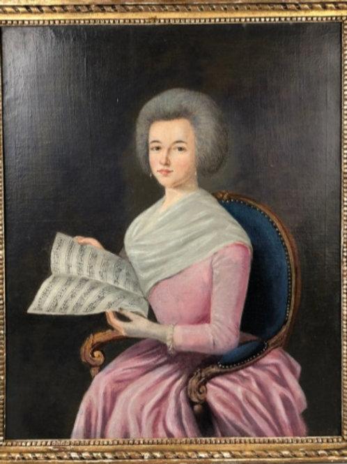 Portrait  de dame à la partition - 76 x 40  HST avec cadre