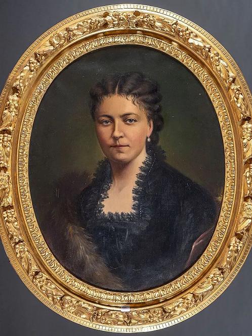 Portrait à vue ovale d'une dame de qualité   19 ème - 80 x70
