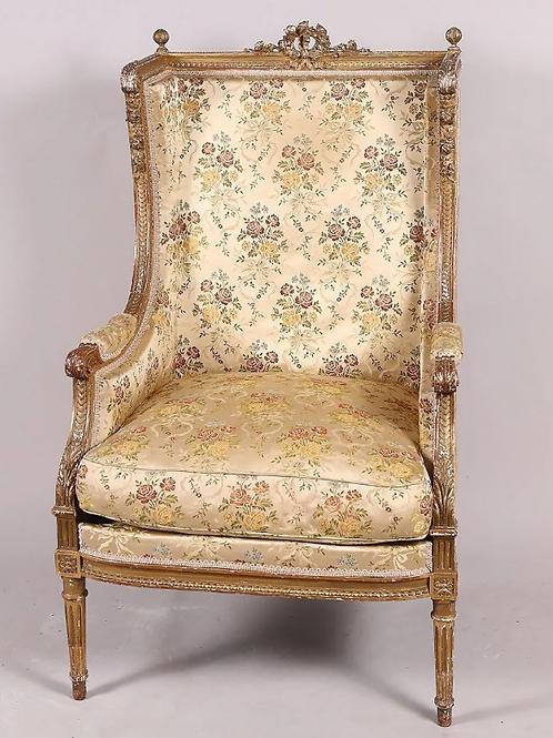 Bergère à oreilles, en bois richement sculpté  - Style Louis XVI