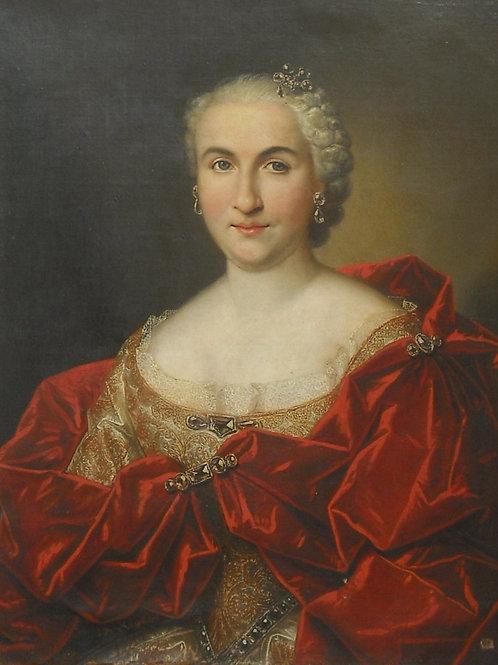 Elève De Larguillière  112 X 93 Femme aux bijoux XVIII