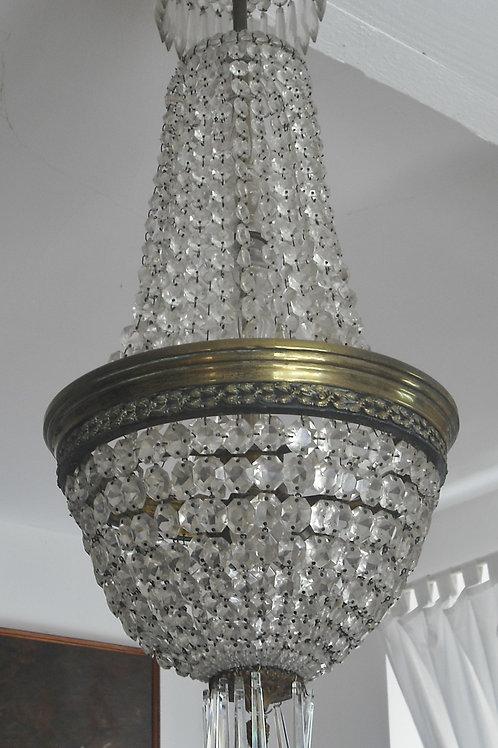 Grand Lustre Corbeille, Montgolfière 105 X 30 Cristal / Bronze -