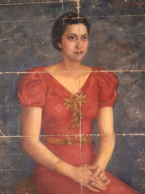 Grand portrait de Christo Boiadjiev ( né en 1912 )  H 93 x L 74