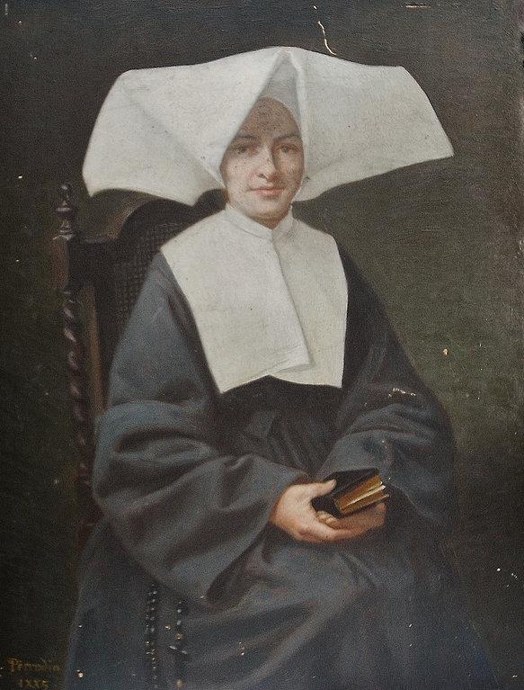 Huile sur panneau de bois, d'une nonne ou béguine signé Perrodin 1885
