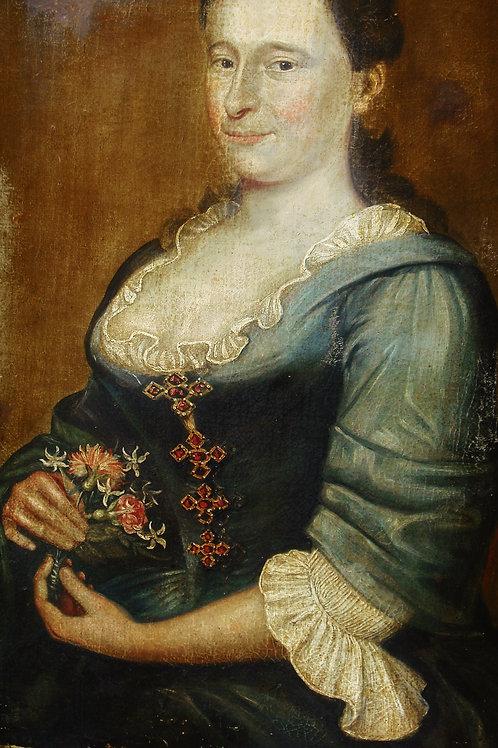 Grand Portrait d'une femme enceinte  82 x 65 cm, Ecole étrangère HSB 17 ème