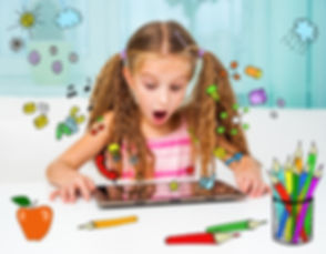 Surprised little girl and her magic tabl