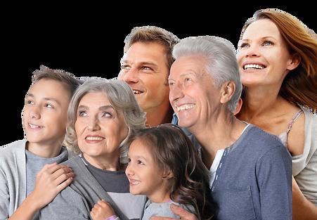 Familia feliz de ir al dentista