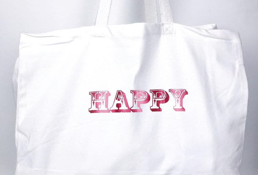 Happy White Tote Bag