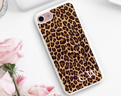 Monogram Leopard Print Phone Case