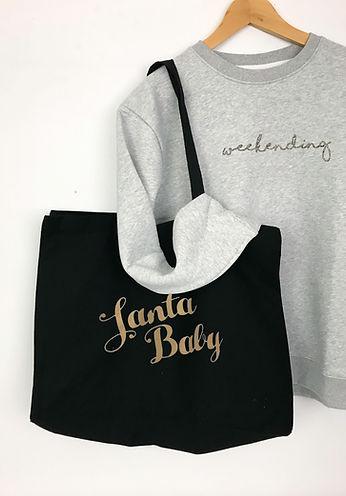 santa baby black tote bag.jpg