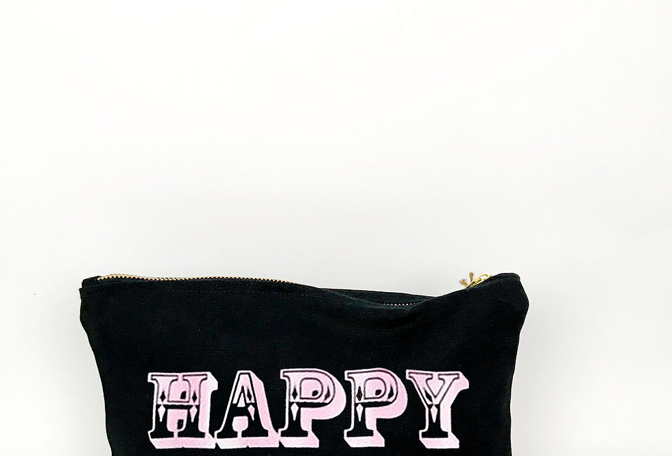 Happy Black Zip Bag