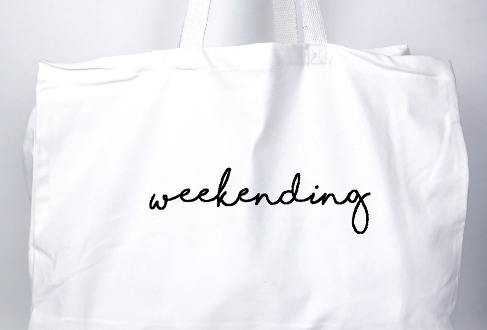 Weekending White Tote Bag