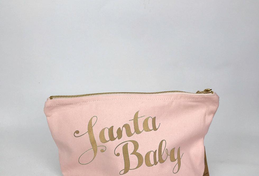 Santa Baby Pink Zip Bag