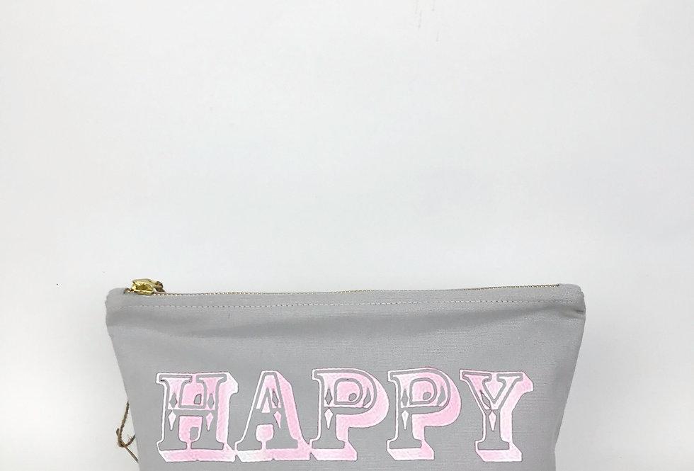 Happy Grey Zip Bag