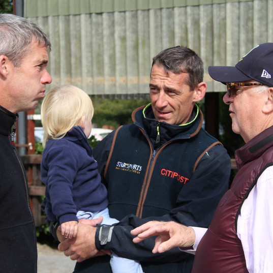 Derek O'Connor, Davy Russell with son Liam and John Duggan