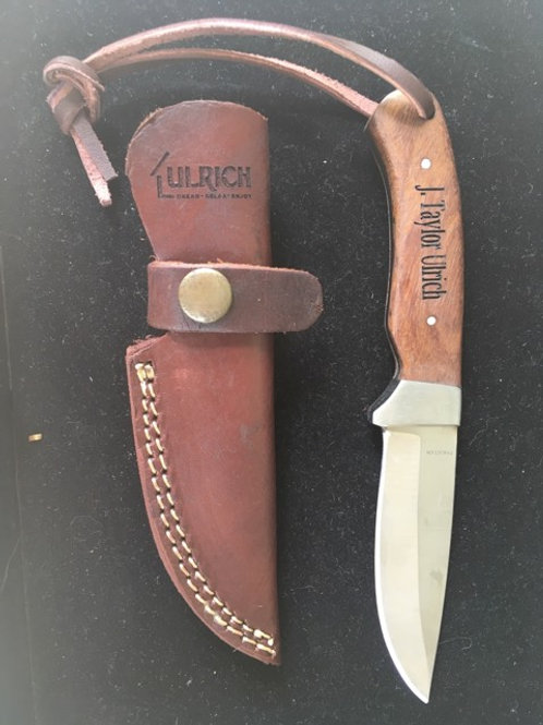 Red Deer Full Tang  Wood Hunting Knife w/ Leather Sheath