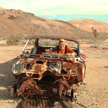 Truman in Rusty Car - Death Valley