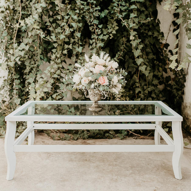 Antik stakleni/bijeli stol